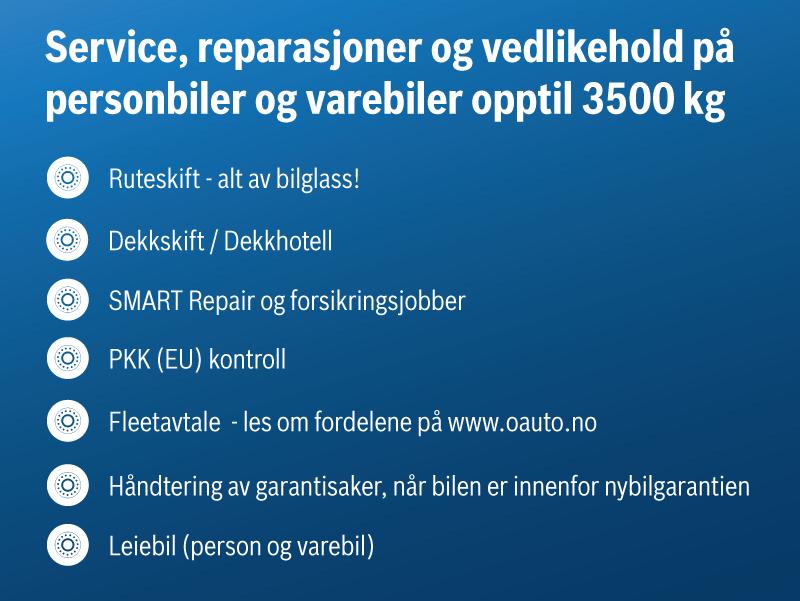 Service, reparasjoner og vedlikehold på personbiler og varebiler opptil 3500kg. Kontakt oss i dag